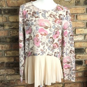 Lauren Conrad Floral Top with Pleated Chiffon Tier